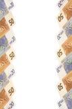 Eurosedlar. Lodlinjebakgrund. Royaltyfri Bild