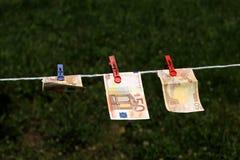 Eurosedlar med klädnypor Royaltyfri Fotografi