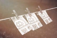 Eurosedlar med klädnypor Royaltyfria Foton