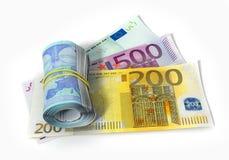 Eurosedlar med rulle Royaltyfria Foton