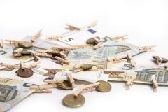 Eurosedlar och eurocent Royaltyfri Fotografi