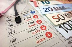 Eurosedlar och exponeringsglas Fotografering för Bildbyråer