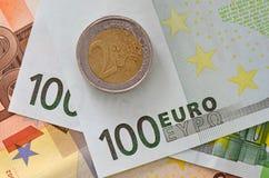 Eurosedlar och myntar Royaltyfria Foton