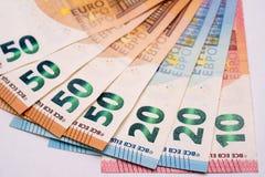 Eurosedlar på vitbok Royaltyfri Fotografi