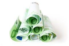 Eurosedlar som isoleras på vit Arkivbild