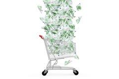 Eurosedlar som ner faller till shoppingvagnen Arkivbild