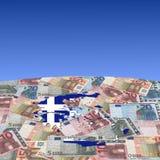 eurosflaggagreece översikt arkivbild
