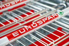 Eurospar shopping carts Stock Photography