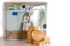 Eurosparbössan och guld- myntar Arkivbilder