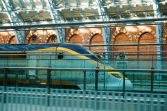 Eurostar. Train at St. Pancras Railway Station, London stock photography