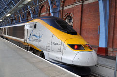 Eurostar Platform. Eurostar train at platform London St. Pancreas station Royalty Free Stock Images
