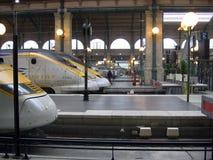 Eurostar przy Gare Du Nord stacjonuje Paryskiego Francja fotografia royalty free