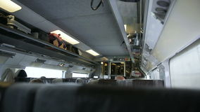 Eurostar train interior. With apssengers traveling in safety stock video