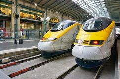 Eurostar train at the St Pancras station in London. LONDON, ENGLAND -11 MARCH 2015- The Eurostar high-speed bullet train, which connects Paris Gare du Nord to Stock Photos