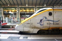 Eurostar train at the St Pancras station in London. LONDON, ENGLAND -11 MARCH 2015- The Eurostar high-speed bullet train, which connects Paris Gare du Nord to Royalty Free Stock Photography