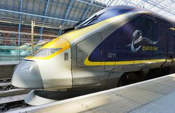 Eurostar train the St Pancras station in London. LONDON, ENGLAND -11 MARCH 2015- The Eurostar high-speed bullet train, which connects Paris Gare du Nord to Stock Photos