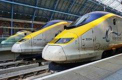 Eurostar train at the St Pancras station in London. LONDON, ENGLAND -11 MARCH 2015- The Eurostar high-speed bullet train, which connects Paris Gare du Nord to Stock Photo