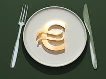 Eurosymbol auf Platte Lizenzfreie Stockfotos