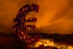 Eurosymbol 3D, das auf Lavaoberfläche brennt Lizenzfreie Stockfotos