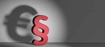 Eurosymbol 3d-illustration des dunklen Schattens des Paragraphen vektor abbildung