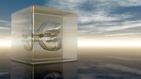 Eurosymbol i den glass kuben Arkivfoto