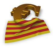 Eurosymbol och flagga av catalonia Stock Illustrationer