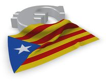Eurosymbol och flagga av catalonia Royaltyfri Illustrationer