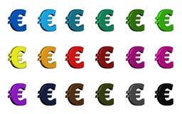 Eurosymbol - olika färger Arkivfoton
