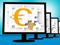 Eurosymbol på bildskärmar som visar Europa vinster vektor illustrationer