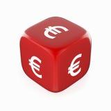 Eurosymbol på röd tärning royaltyfri illustrationer
