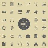 Eurosymbolsymbol Detaljerad uppsättning av finanssymboler Högvärdigt kvalitets- tecken för grafisk design En av samlingssymbolern stock illustrationer
