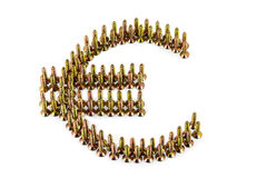 Eurosymbolzeichnung mit gelbem avarage galvanisierte die Schrauben, die auf weißem Hintergrund lokalisiert wurden Stockbilder