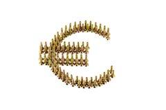 Eurosymbolzeichnung mit gelbem avarage galvanisierte die Schrauben, die auf weißem Hintergrund lokalisiert wurden Lizenzfreies Stockbild
