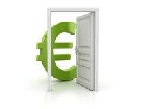Eurotecken för öppen dörr och gräsplan vektor illustrationer