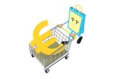 Eurotecken med shoppingspårvagnen Royaltyfri Bild