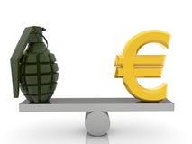 Eurotecken och granat på gungbrädet på vit Royaltyfri Foto