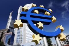 Eurotecken på EZB Royaltyfria Foton