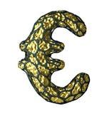 Eurotecken som göras av guld- glänsande metallisk 3D med den isolerade svarta buren på vit Royaltyfri Bild