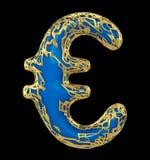 Eurotecken som göras i guld- glänsande metallisk 3D med isolerad blåttmålarfärg på svart bakgrund royaltyfri illustrationer