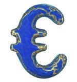Eurotecken som göras i guld- glänsande metallisk 3D med isolerad blåttmålarfärg på vit bakgrund royaltyfri illustrationer