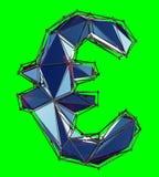 Eurotecken som göras i låg poly isolerad stilblåttfärg på grön bakgrund royaltyfri illustrationer