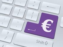 Euroteckenbegrepp på knappen av det vita datortangentbordet Fotografering för Bildbyråer