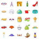 Eurotrip icons set, cartoon style Stock Photos