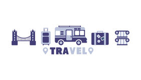 Eurotrip Travel Symbols Set By Five In Line Stock Images