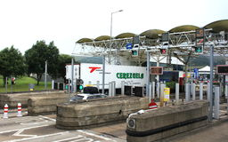 Eurotunnel Le Shuttle Freight Terminal check in booth. The Channel Tunnel  rail tunnel linking Folkestone, Kent, in the United Kingdom, with Coquelles, Pas-de Stock Images
