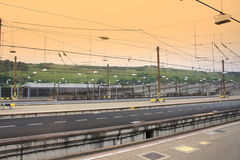 Eurotunnel Service station. In area of Folkestone  .The Channel Tunnel  rail tunnel linking Folkestone, Kent, in the United Kingdom, with Coquelles, Pas-de Stock Image