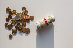 EurouS-Dollar Geldmünzen Lizenzfreie Stockfotos