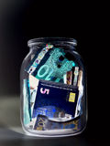 Eurovaluta & x28; sedlar & x29; i skydd för UV ljus Arkivbilder