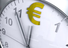 Eurovalutanedräkning Arkivfoton