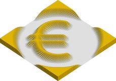 Eurovalutasymbol som göras av kuber Arkivbild